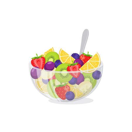 ensalada de frutas: Comida sana comida vegetariana aislados en blanco. Ilustración del vector. Vectores