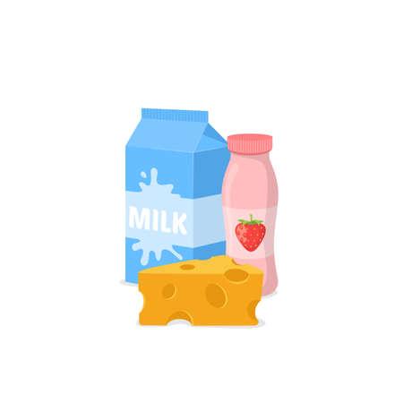 yoghurt: Milk, yogurt and cheese isolated on white. Vector illustration.