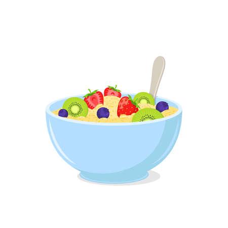 Healthy vegetarian meal isolated on white. Vector illustration. Ilustração