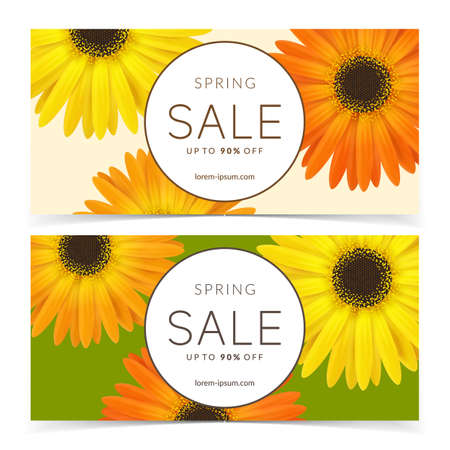 Bright spring sale design. Vector resizable banners.