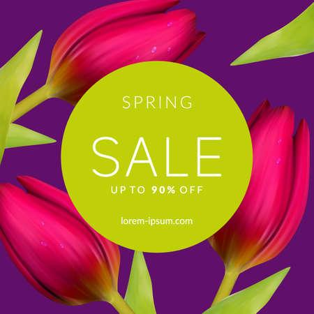 spring green: Bright spring sale design. Vector resizable background.