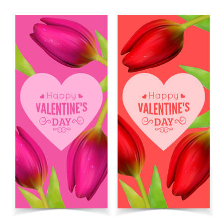 st  valentine's day: St Valentines Day banners design. Vector resizable illustration.