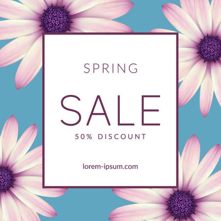 Bright spring sale design. Vector resizable background.