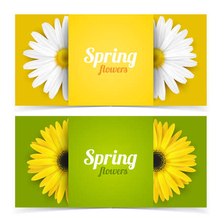 Bright spring banners design. Vector resizable illustration. Ilustrace