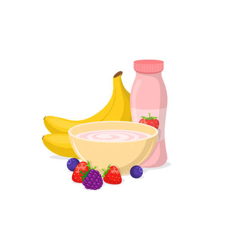 Milk, yogurt and cheese isolated on white. Ilustrace
