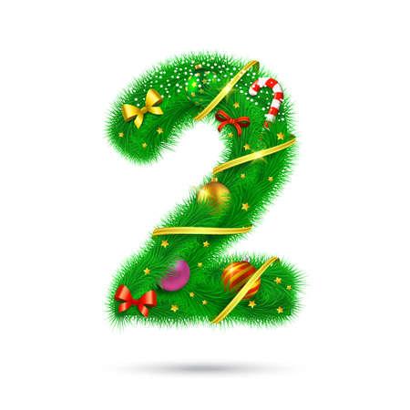 christmas tree decoration: Christmas and New Year holiday symbol. Illustration