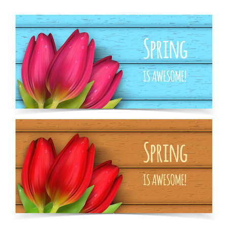 adverts: Bright spring banners design. resizable illustration. Illustration