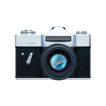 styled: Simple vector illustration of retro styled photo-camera.