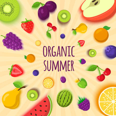 layout strawberry: Summer fruits and berries vector illustration. Easy to edit design template.