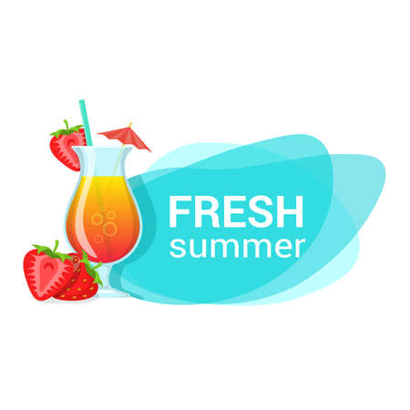 summer drink: Fresh summer drink and berries vector illustration. Easy to edit design template. Illustration