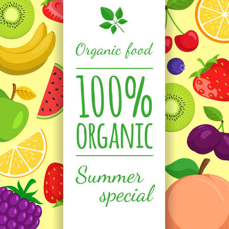 Summer fruits and berries vector illustration. Easy to edit design template.