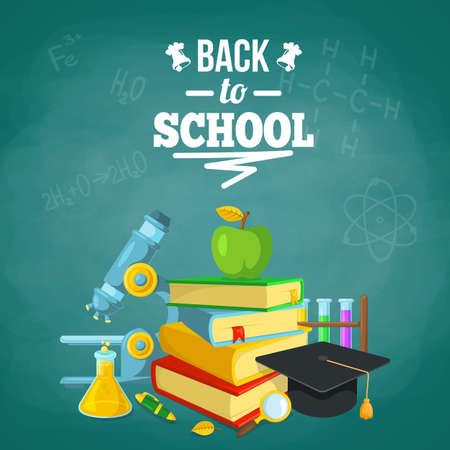 classroom supplies: Bright background for education topic. Vector composition. Illustration
