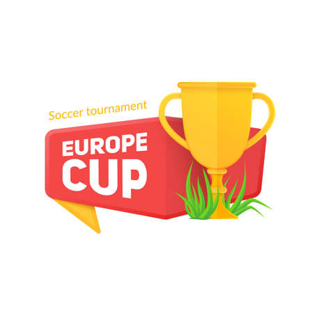 host: Vector template for 2016 fooball championship. Bright banner on white.