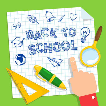 classroom supplies: Bright background for education topic. Notebook and hand writing imitation. Illustration