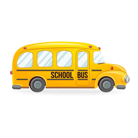 yellow schoolbus: School transport isolated on white. Vector illustration easy to edit. Illustration