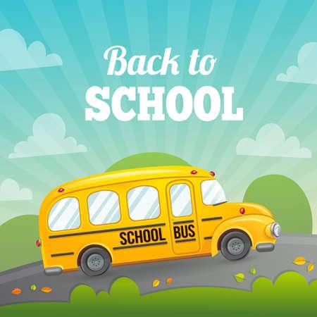 Welkom terug op school. Herfst vector achtergrond.