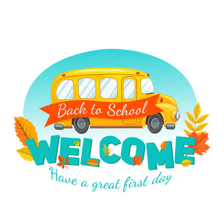 secondary: Welcome back to school. Autumn vector background.