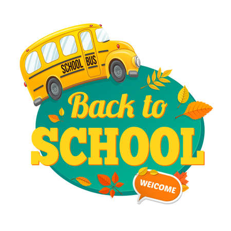 back view student: Welcome back to school. Autumn vector background.