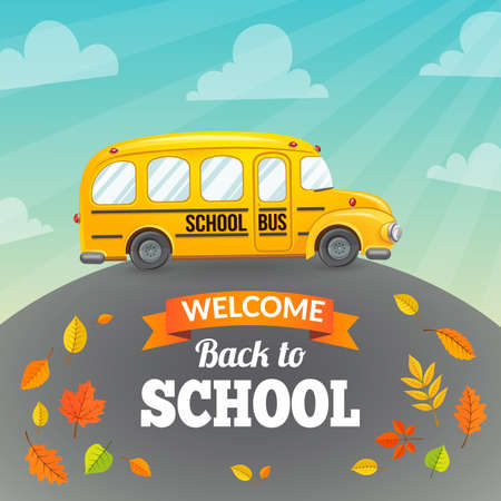 yellow schoolbus: Welcome back to school. Autumn vector background.
