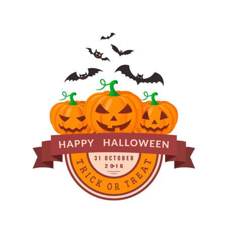 of helloween: Halloween party badge design. Illustration