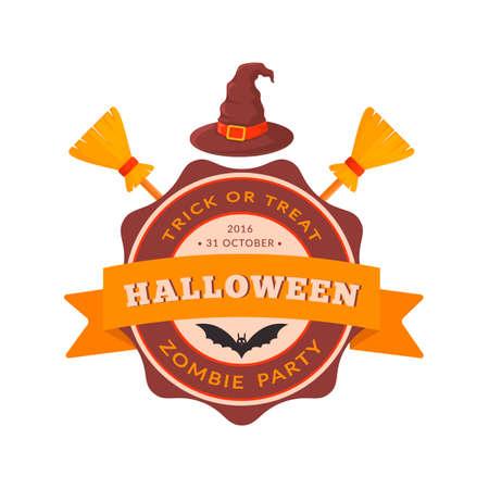 besom: Halloween party badge design. Illustration