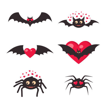 of helloween: Traditional halloween symbols in cute design easy to edit.