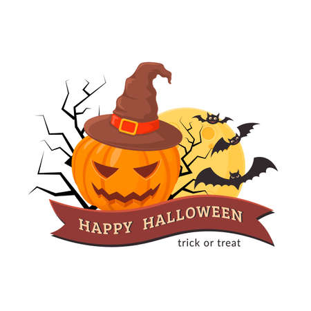 Halloween party badge design. Illustration