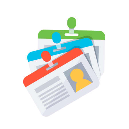 Personal badge. Access and identification document. Flat design style Illustration
