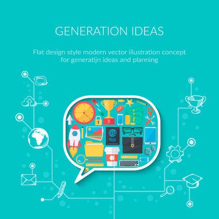 idea generation: Idea generation process. Modern flat design template.