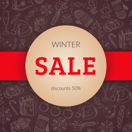 convenient: Banner design for winter holidays discounts and special offers. Convenient