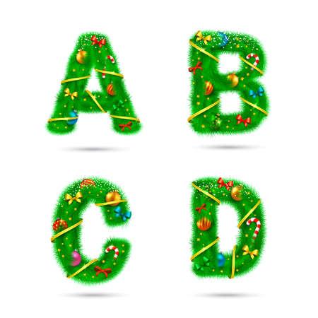 Navidad y Año Nuevo los elementos de diseño de vacaciones. Ilustración de vector