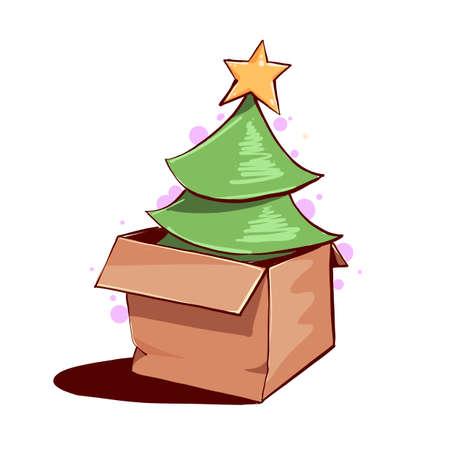 Green fir tree in paper box. Vector illustration.