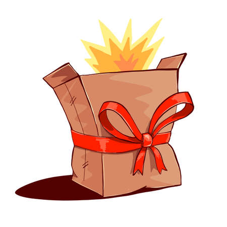 ship bow: Bursting paper box with red ribbon bow decoration. Illustration