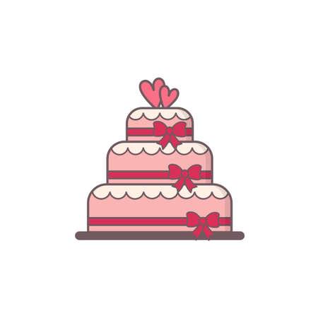 wedding cake: Decorated wedding cake.