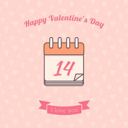 st  valentine: 14 date calendar St. Valentine day holiday.