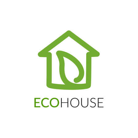 Simple icon of house with leaf within.