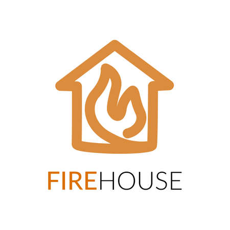 Simple icon of house with fire within. Illustration