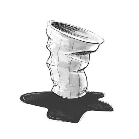 Used cup for Take away drinks. Illustration