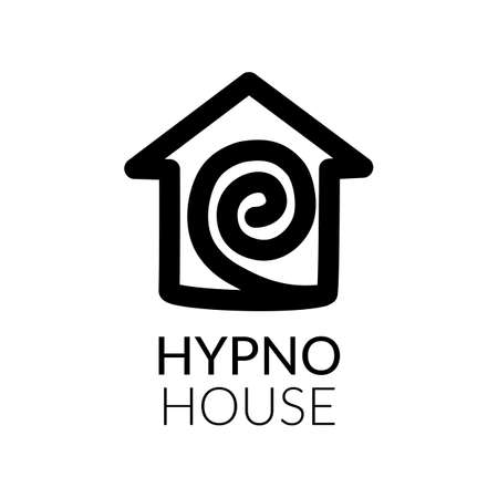 Simple icon of house with labyrinth within.