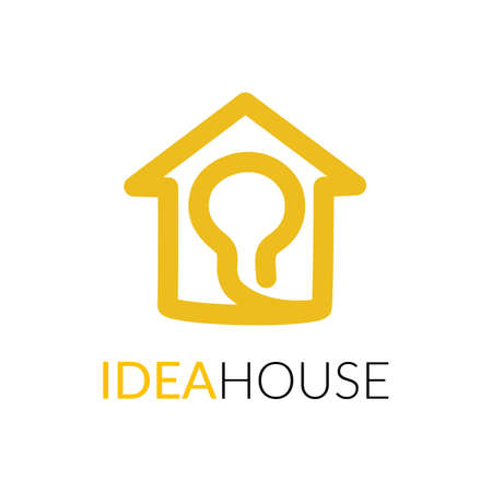 Simple icon of house with light bulb within.
