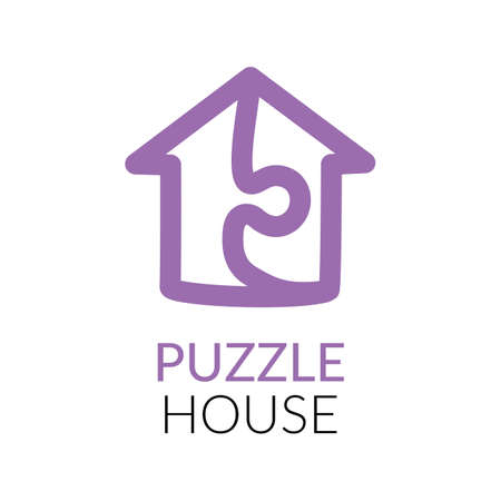 Simple icon of house with puzzle sign within.