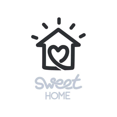 Simple icon of house with heart shape within.
