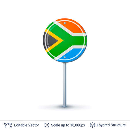 South Africa flag isolated on white. Illustration