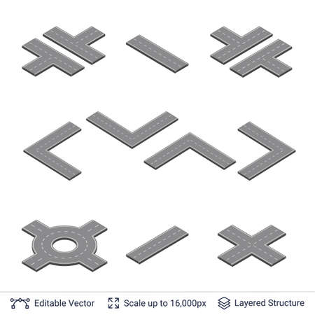 map toolkit: Road construction set. Highway map toolkit. Illustration