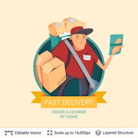 Deliveryman icon and ad text. Illustration