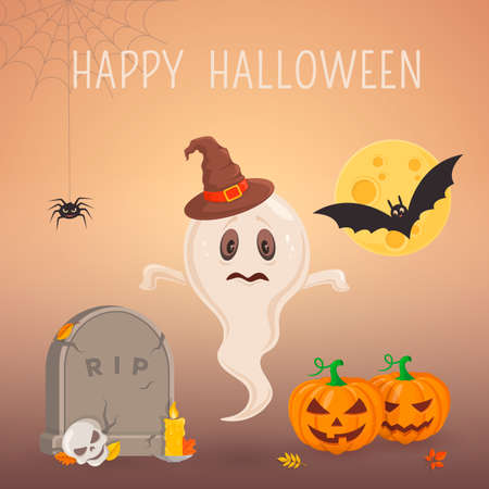 all saints day: Halloween party background design. Eps 10 vector illustration
