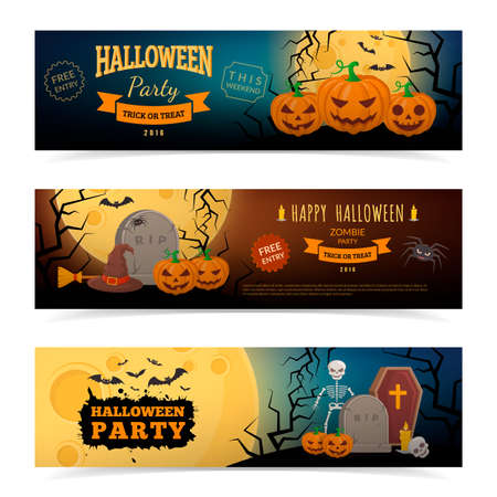 all saints day: Halloween party banners design. Eps 10 vector illustration Illustration
