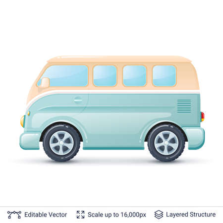 Retro mini van isolated on white. Illustration easy to edit. Ilustração