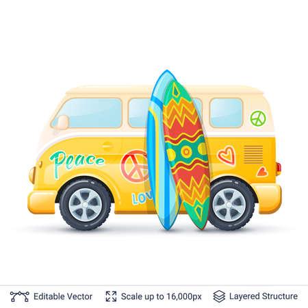 Retro mini van isolated on white. Illustration easy to edit. Illustration