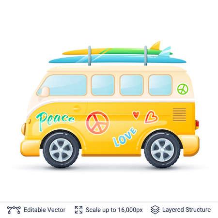 Classic volkswagen bus. Illustration